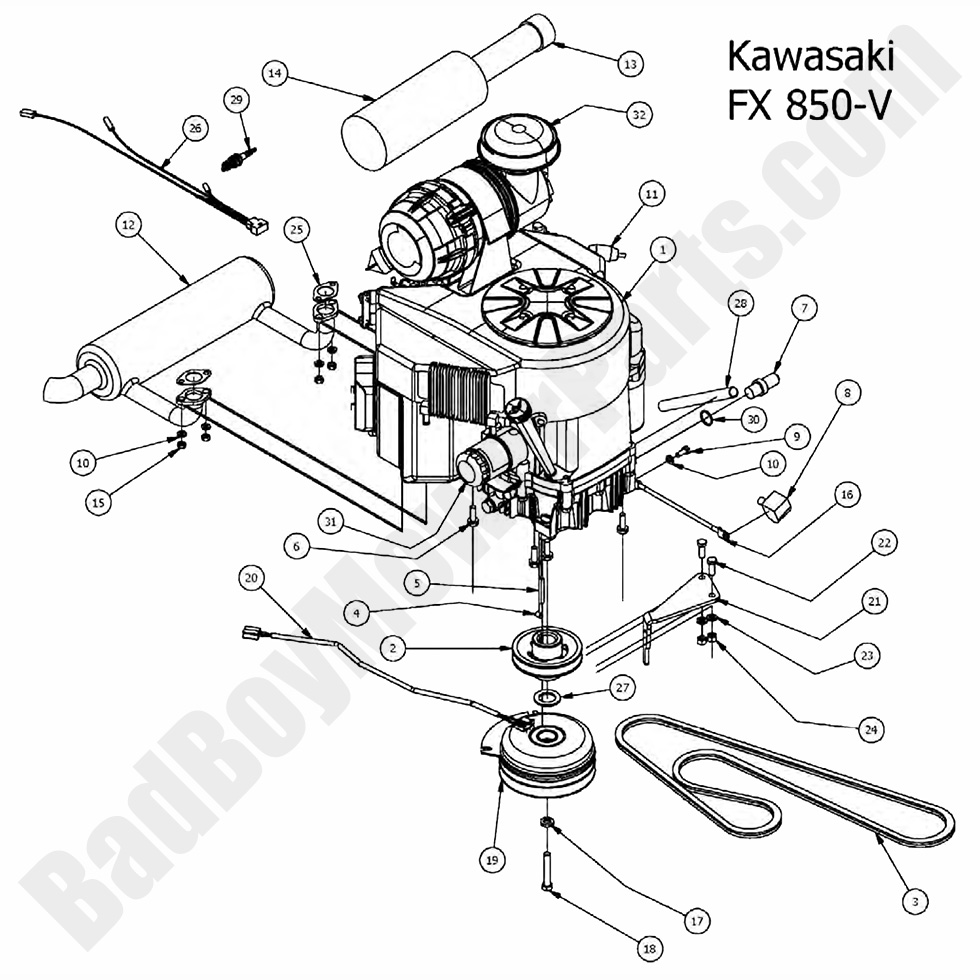 Bad Boy Mower Parts Lookup 2017 Outlaw And Outlaw Extreme Engine Kawasaki FX 850V on briggs stratton engine wiring diagram
