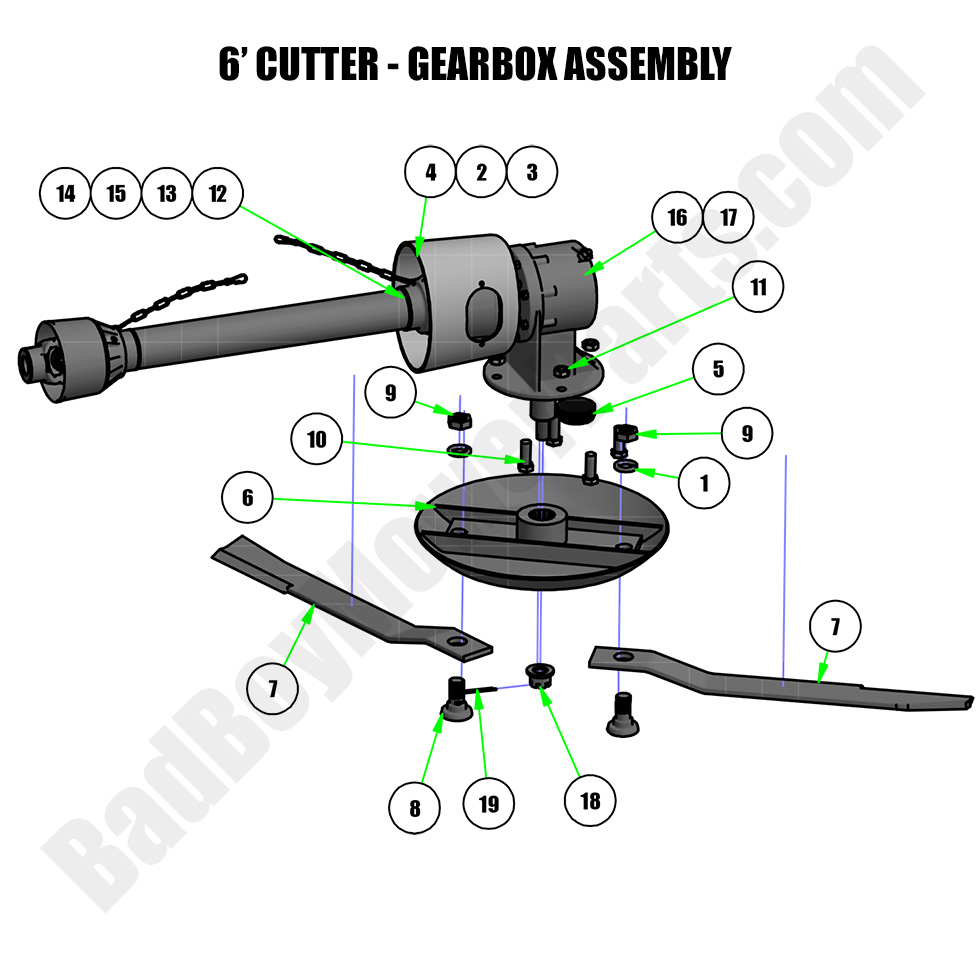 Bad Boy Mower Parts Lookup 2018 6ft Cutter Gearbox Assembly