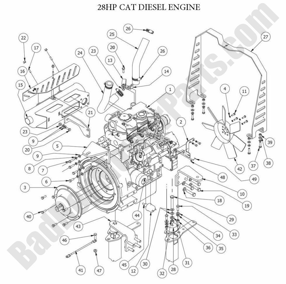 Diesels_2014_28HP_CAT_ENGINE 01 bad boy parts lookup 2014 diesels 28hp cat diesel engine bad boy mower wiring diagram at creativeand.co