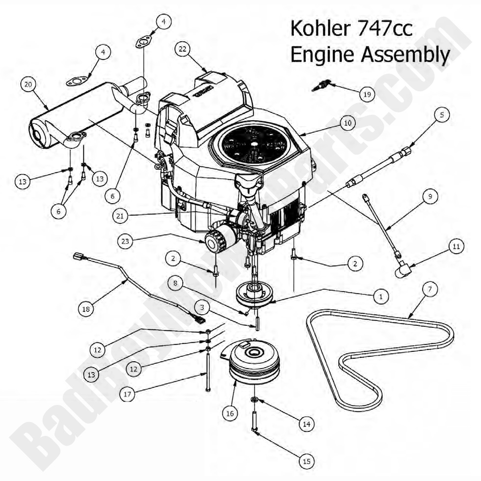 Mower Deck in addition 2r0dz Install Governor Spring Briggs 5hp Mod additionally Exmark Lazer Z Hp 565 Lazer Z Hp 465 together with MR3k 16719 together with Bad Boy Mower Parts Lookup 2017 Maverick Engine Kohler 747cc. on kohler 20 hp parts diagram