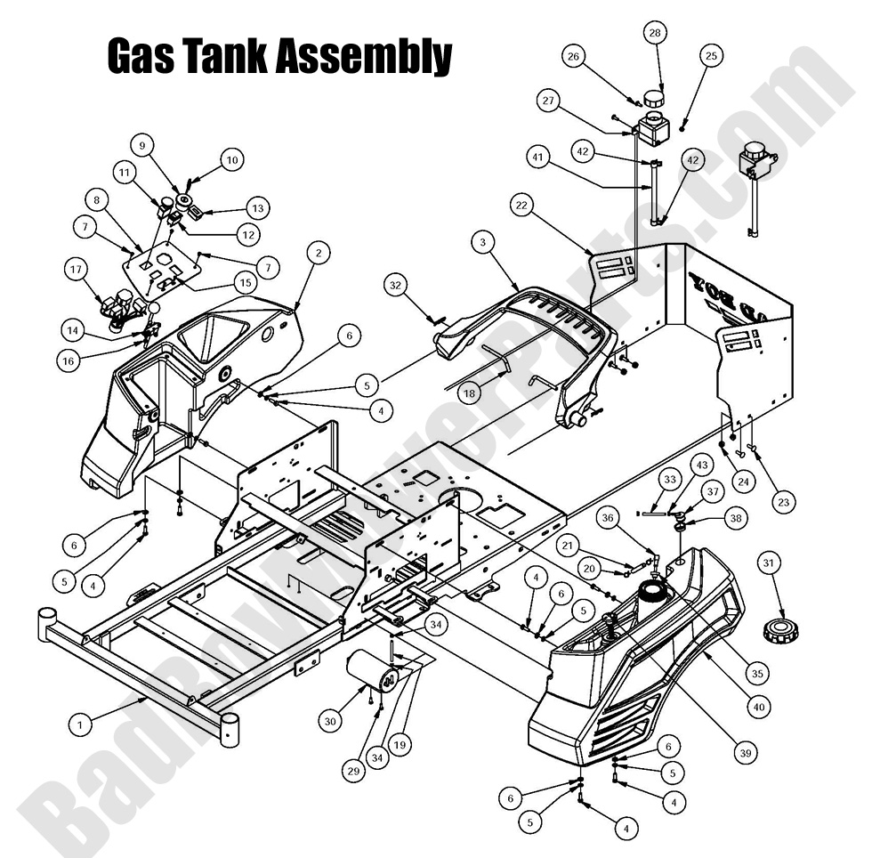 bad boy mower parts 2016 zt elite gas tank assembly diagramposition number, sku, product title, price