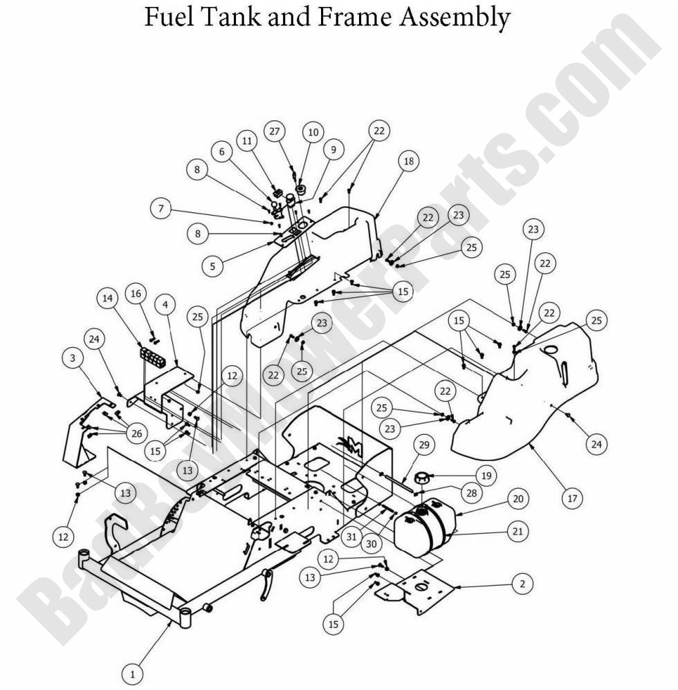 MZMagnum_2013_Fuel_Tank_and_Frame_Assembly 01 bad boy parts lookup 2013 mz magnum fuel tank & frame bad boy mower wiring diagram at creativeand.co