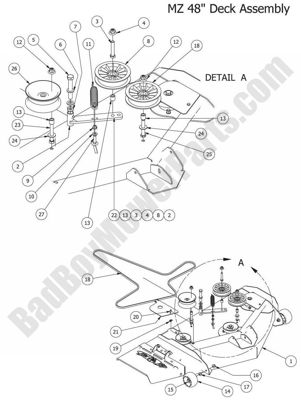 Bad Boy Parts Lookup 2014 Mz Magnum 48in Deck Assembly