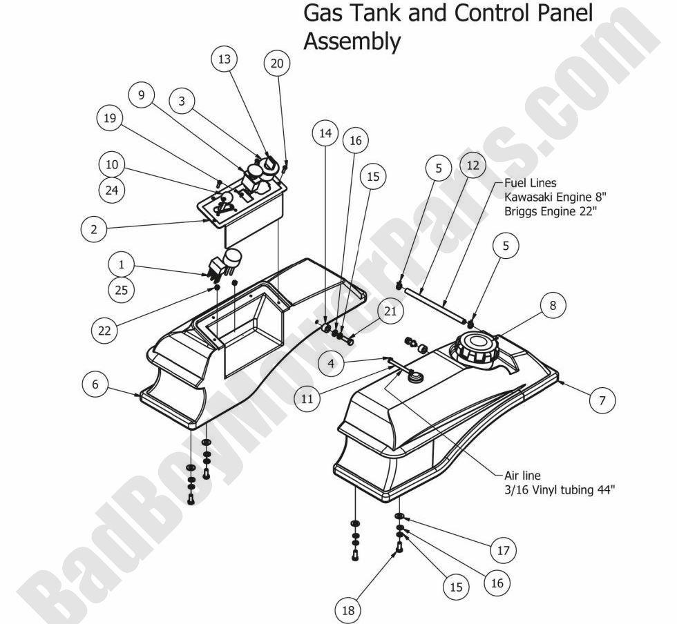 Bad Boy Parts Lookup 2012 Mz Fuel Tank  U0026 Controls