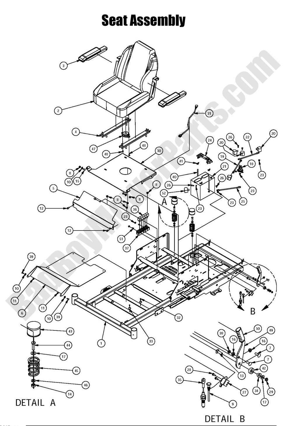 Seat Assembly bad boy mower parts 2016 zt elite seat assembly diagram  at mifinder.co