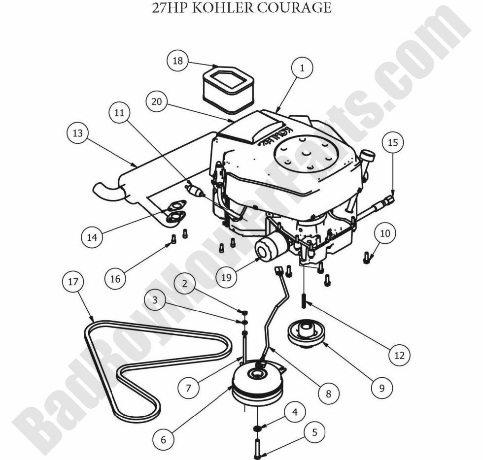 23 hp kawasaki engine parts diagram bad boy parts lookup 2012 zt engine  27hp kohler   zt engine  27hp kohler