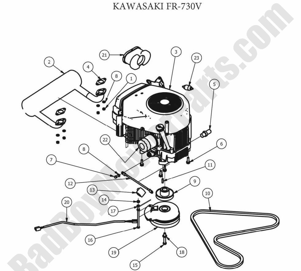 Bad Boy Parts Lookup 2012 ZT Engine (Kawasaki FR730V) Kawasaki Engine Parts Diagram on kawasaki replacement engines, kawasaki fh580v parts, kawasaki prairie 300 carb diagram, kawasaki 250 parts diagram, kawasaki ga 2300a generator parts, kawasaki ga1000a generator parts, kawasaki fb460v parts list, kawasaki fc150v parts diagram, mahindra parts diagrams, kawasaki fh680v parts electric clutch, exmark parts diagrams, kawasaki fh601v parts, caterpillar engine parts diagrams, mtd parts diagrams, kawasaki oem parts diagram, long tractor engine parts diagrams, bush hog parts diagrams, small four-stroke engine diagrams, kawasaki mule parts diagram, kawasaki fc420v parts diagram,
